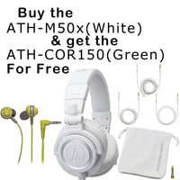 Audio-Technica ATH-M50x Monitor Headphones (White) With FREE buds
