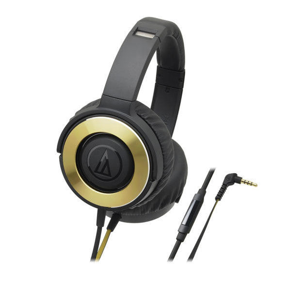 Audio-Technica - WS550iS Black/Gold - Solid Bass with In-Line Controls