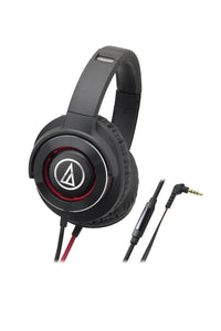 Audio-Technica ATH-WS770iS Black / Red Solid Bass Headphones - Audio46
