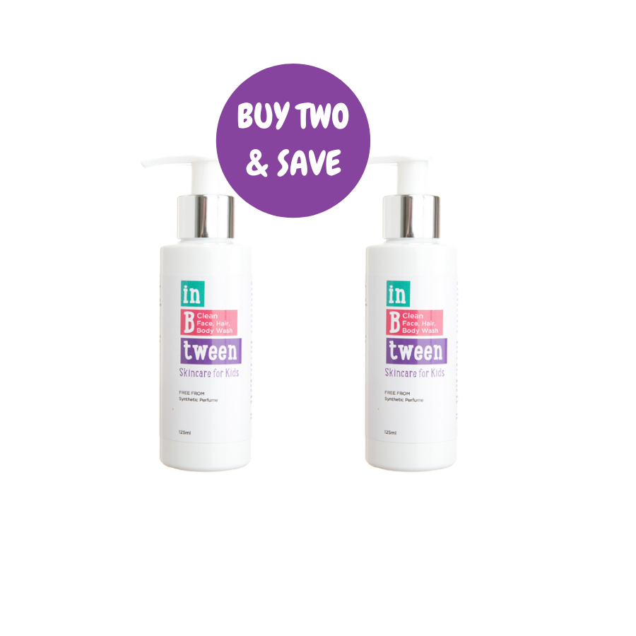 B Clean Face, Hair, Body Wash 125ml (Twin Pack)