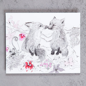 Red Fox Cubs & Wildflowers