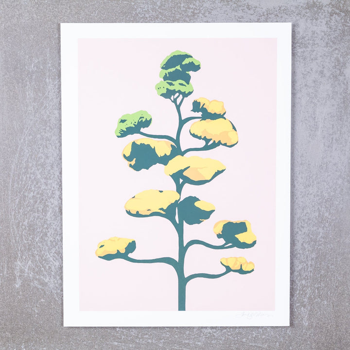 Agave Bloom on Pink Screen Print