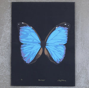Blue Morpho On Black