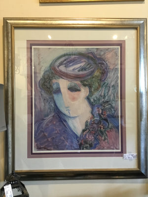 Signed Purple/Blue Woman Numbered Framed Art