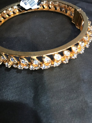 Gold Bangle Rhinestone Bracelet