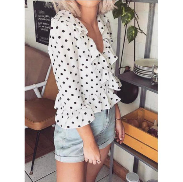 Polka Dot Ruffled Top-2 Color Options