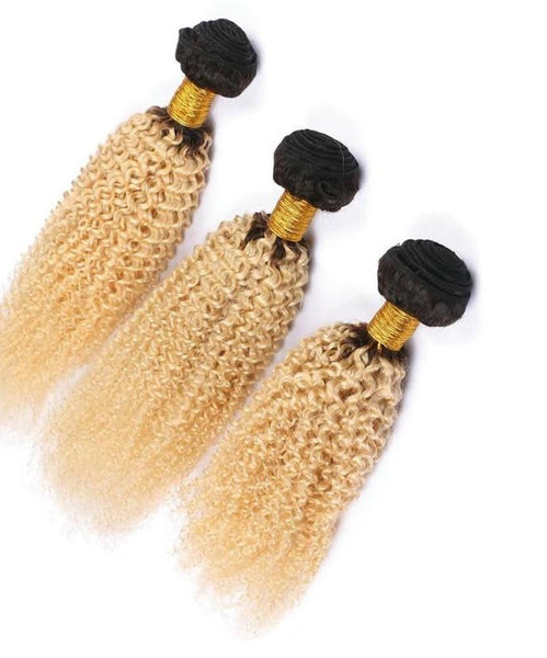3 Malaysian Exotic Curly Blonde #T1B/613 Bundles with 13x4 Lace Frontal - Exotic Hair Shop