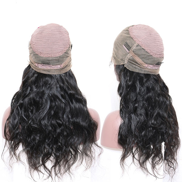 Brazilian Body Wave 360 Lace Frontal Wig with Bangs and Lightly Bleached Knots - Exotic Hair Shop