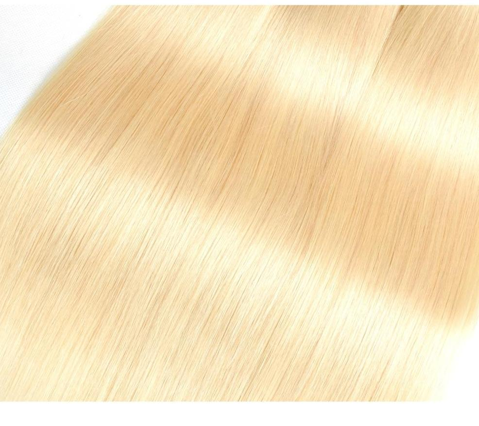 4 Brazilian Straight Blonde #613 Bundles with 13x4 Lace Frontal