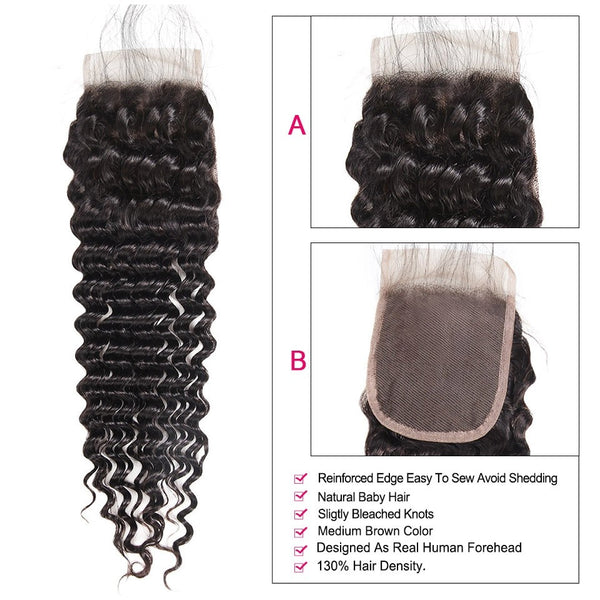 "Indian Exotic Wave 4""x4"" Lace Closure - Exotic Hair Shop"