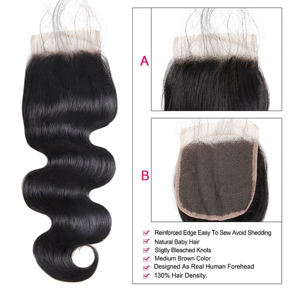 "Indian Body Wave 4""x4"" Lace Closure - Exotic Hair Shop"