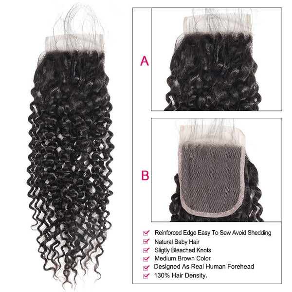 "Indian Curly Hair 4""x4"" Lace Closure - Exotic Hair Shop"