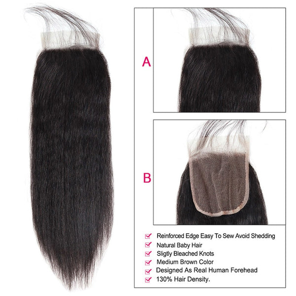 "Malaysian Yaki Straight 4""x 4"" Lace Closure - Exotic Hair Shop"