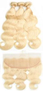 3 Brazilian Body Wave Blonde #613 Bundles with 13x4 Lace Frontal - Exotic Hair Shop