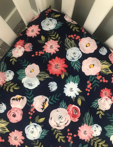 Floral Dreams Fitted Crib Sheet | Navy