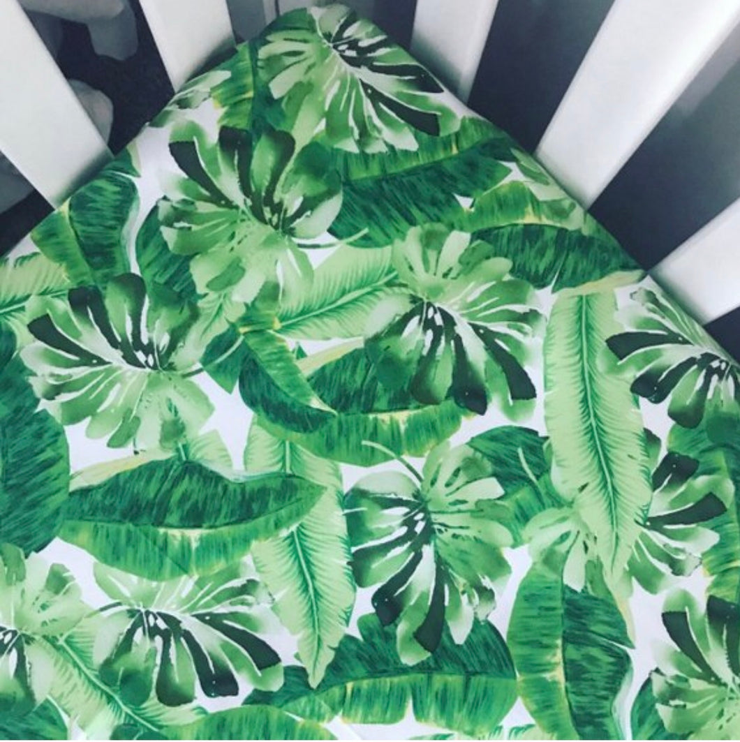 Tropical Palms Crib Sheet | Green + White