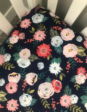 Load image into Gallery viewer, Navy Blue Floral Fitted Crib Sheet