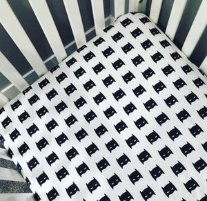 Superhero Fitted Crib Sheet | Black and White
