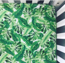 Load image into Gallery viewer, Tropical Palms Crib Sheet | Green + White