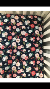 Navy Blue Floral Fitted Crib Sheet