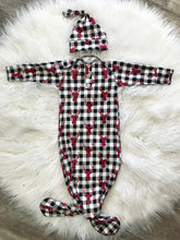 Load image into Gallery viewer, Knotted gown and hat | buffalo plaid