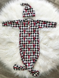 Knotted gown and hat | buffalo plaid