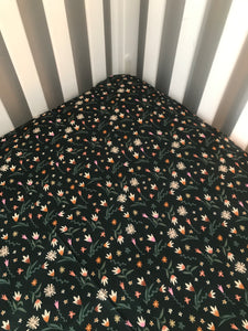 Dark green mini floral crib sheet