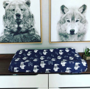 Distressed Buffalo Changing Pad Cover | Navy Blue