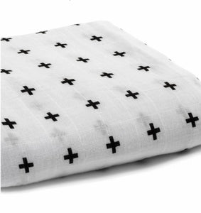 Organic Cotton Muslin Swaddle | Swiss Cross