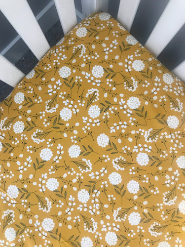 Mustard Floral Fitted Crib Sheet