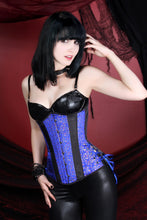 Load image into Gallery viewer, Indigo Floral Satin Corset