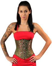 Load image into Gallery viewer, Steampunk Green Brocade Corset