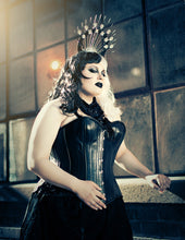 Load image into Gallery viewer, Black Leather Overbust Corset