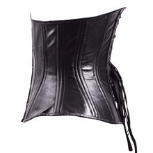 Load image into Gallery viewer, Black Leather Hourglass Corset
