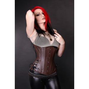 Brown Leather Long Corset