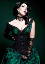 Load image into Gallery viewer, Black Floral Brocade Corset
