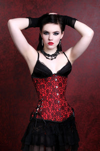 Scarlet Red Black Long Corset