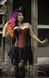 Iridescent Red Overbust Corset