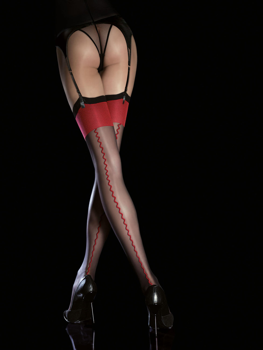 Black and Red Thigh Highs, Backseam