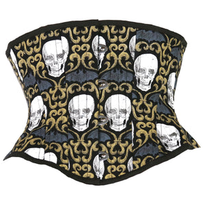 Bats and Skulls Corset, Hourglass Silhouette, Short