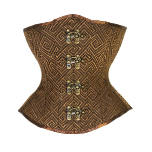 Brown Spirals Corset, Hourglass Silhouette, Regular