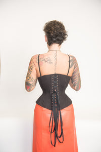 Black Cotton Corset, Libra Silhouette, Regular