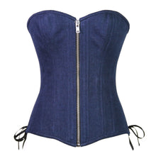 Load image into Gallery viewer, Denim Zipper Overbust Corset, Slim Silhouette, Regular