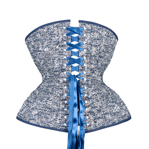 Silver Leaves on Blue Cupped Corset, Gemini Silhouette, Long