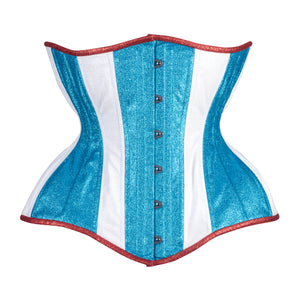 Red White and Blue Glitter Cupped Corset, Gemini Silhouette, Long