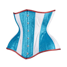 Load image into Gallery viewer, Red White and Blue Glitter Cupped Corset, Gemini Silhouette, Long