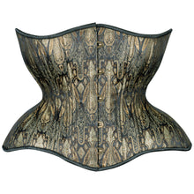 Load image into Gallery viewer, Antique Black and Aged Gold Cupped Corset, Gemini Silhouette, Regular