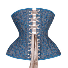 Load image into Gallery viewer, Paisley Blues Straight Corset, Gemini Silhouette, Long