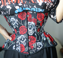 Load image into Gallery viewer, Tattoo Skulls in Black Cupped Corset, Gemini Silhouette, Regular