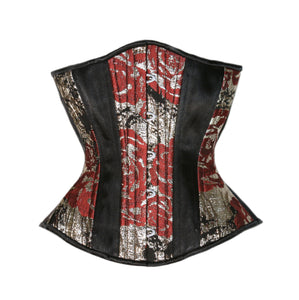 Metallic Rose and Black Satin Corset, Hourglass Silhouette, Regular